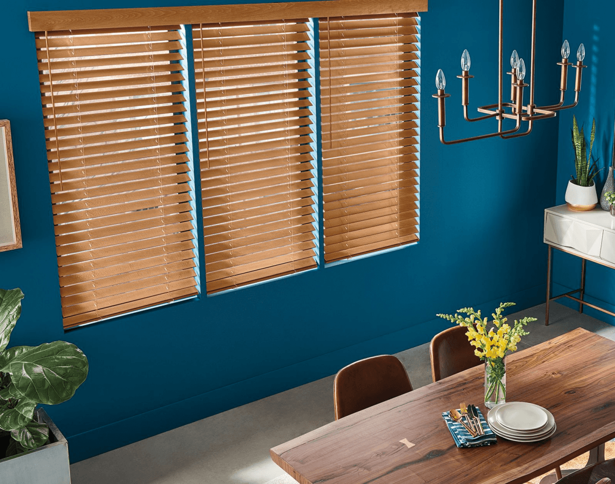 Custom Natural Stained Real Wood Blinds in Oakville