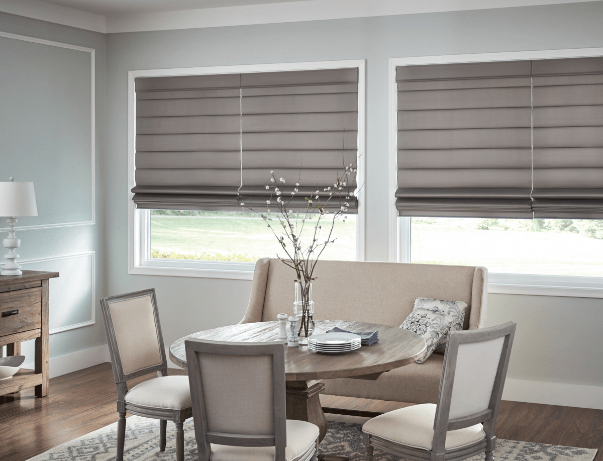 Custom Gray Condo Roman Shades Whitby Oshawa Ajax Pickering
