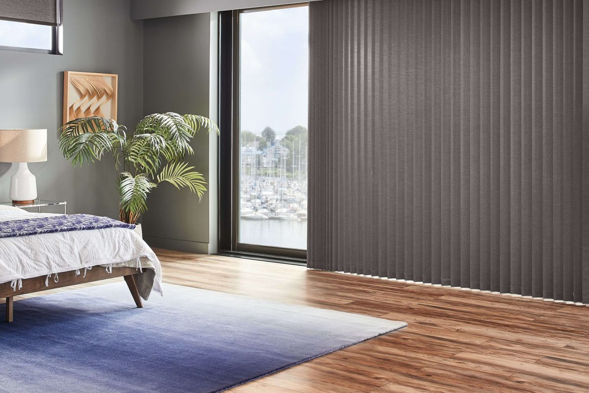 Custom Verical Blinds on Bedroom Patio Door in Richmond Hill - Thornhill